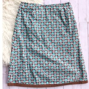 Boden blue and brown floral print skirt